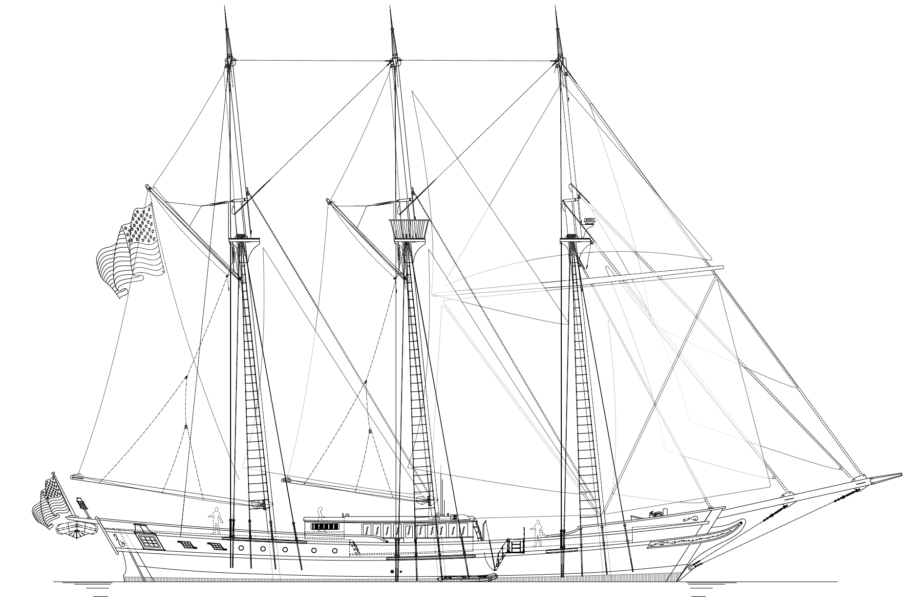 42m Barquentine - SHADOW LINE  - Kasten Marine Design, Inc.