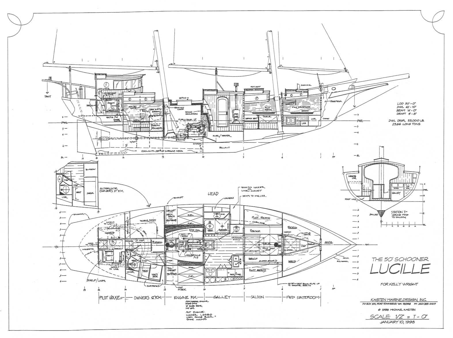 50 Motor Sailer Lucille Kasten Marine Design