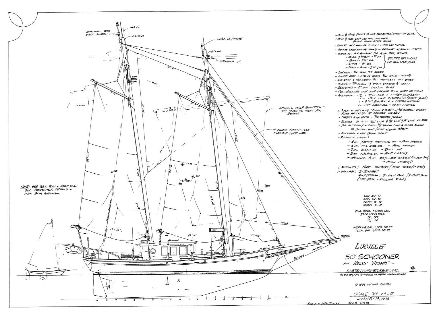 50' Motor Sailer LUCILLE - Kasten Marine Design