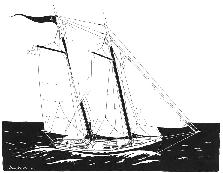 Lena's Drawing of the 50' Schooner - Lucille