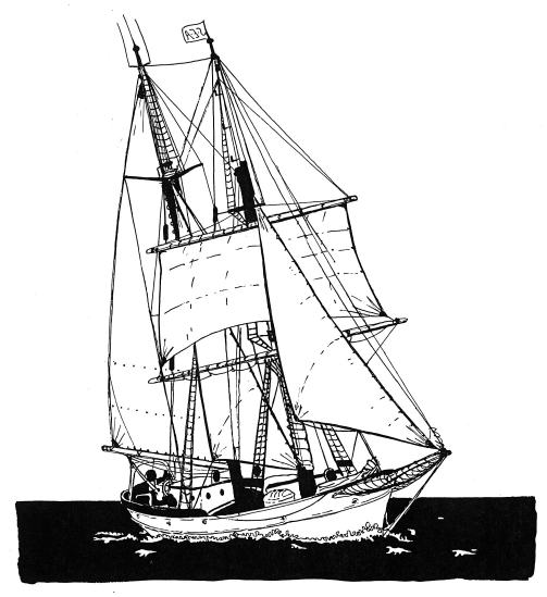 The Brig Corwith Cramer - Drawing by Lena Kasten