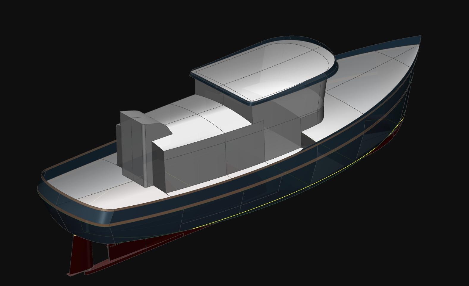 40' Ocean Trawler Exterior Profile | 45' Ocean Trawler Perspective Aft ...