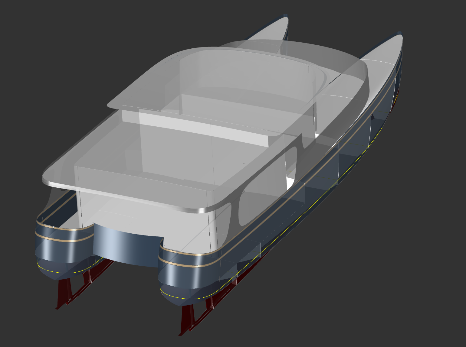 50' Aluminum Power Catamaran - WAVE CAT - Kasten Marine Design, Inc.